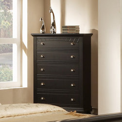None - Napa 5-drawer Black Chest - Bring style and elegance to your room with this black five-drawer chest. With five deep drawers, this chest has plenty of storage space for your clothing. A cottage black finish and antique pewter gives this chest a gorgeous, modern look.