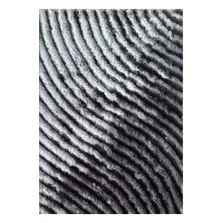 Rug - 3D Luxurious High Quality Shag Rugs, 3D Shag Collection, 303 Gray, 5 X 7, Geomet - 3D SHAG COLLECTION