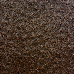 Emu Faux Leather / Vinyl Upholstery Fabric, Bark - This emu faux leather has a supple texture in rich, dark brown and is suitable for upholstery, cornice/headboards, and other decorative uses.