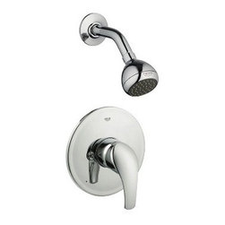 GROHE - Grohe Eurosmart Shower Combination PBV Trim - Starlight Chrome - Engineered to compliment, designed to impress, the Grohe Eurosmart Shower Combination PBV trim kit, when used in conjunction with the appropriate pressure balance valve rough, maintains your desired water temperature and helps prevent scalding by compensating for pressure fluctuations. A trim kit is the perfect choice for a hassle-free faucet upgrade or replacement without the added cost of new hardware. Includes only the exterior elements. Valves and plumbing not included. Featuring Grohe exclusive StarLight plating and SilkMove and DreamSpray technology. Starting with their unique StarLight plating process, Grohe sub-plates layers of copper or nickel, depending on the surface, to ensure a flawless non-porous base for their dazzling finish layer. StarLight ensures a luminous mirror-like sheen that is resistant to scratches and tarnishing for years of stunning, trouble-free use. Grohe's innovative SilkMove cartridges are fashioned from advanced ceramic alloys, then are coated with an exclusive Teflon lubricant, ensuring a lifetime of rich smooth faucet function and quiet, leak-free operation. The dream of the perfect shower is now reality with Grohe DreamSpray technology. With their dedication to innovation, Grohe has created the advanced DreamSpray shower engine that guarantees an equal flow of water to each individual shower nozzle, for the ultimate shower experience. Features & Specs Single lever handle Non-adjustable shower head (28342) Brass arm (27414) For use with Grohsafe Pressure Balance Rough-In Valve (35015) ADA Compliant Flow Rate @ Shower Head: 2.5 gpm at 80 psi (9.5 lpm) View Spec Sheet