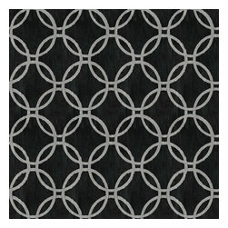 Brewster Home Fashions - Eaton Black Geometric Wallpaper Bolt - A brilliant onyx hue gives way to a stylish geometric on this modern wallpaper design that's polished in a chic silver luster.