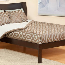 Atlantic Furniture - Eco-friendly Wood Platform Bed (Full in Caram - Finish: Full in Caramel LatteIncludes open foot rail. Warranty: One year. Twin: 78.5 in. L x 43.63 in. W x 44.25 in. H (71 lbs.). Full: 78.5 in. L x 57.75 in. W x 44.25 in. H (98 lbs.). Queen: 84 in. L x 64.5 in. W x 44.25 in. H (109 lbs.). Bed Assembly Instructions. Headboard Assembly InstructionsThe Soho is a curved sleigh style bed with an exquisite finish. The Soho is very rugged and doesnt fall short with its looks.