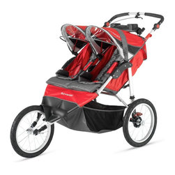 Schwinn - Schwinn Arrow Fixed Wheel Double Jogging Stroller - Red/Black - 13-SC215 - Shop for Jogging Strollers from Hayneedle.com! Your kids will love going on jogs with you with the Schwinn Arrow Fixed Wheel Double Jogging Stroller - Red/Black. Snug and comfortable this stroller has a cozy removable seat pad for easy cleaning. Its 16-inch rear pneumatic tires with molded rims provides a comfortable ride while the bicycle-style handbrake gives you additional stopping power. A dual cup holder provides a place for your or your children's cups and the large storage basket underneath has room for a diaper bag your purse gear blankets and more. Mounted speakers on the canopy are compatible with most MP3 players and lets you and your children listen to music while you're out and about. Additional Features Dual cup holder 16-inch rear pneumatic tires with molded rims Secure 5-point harness and buckle system Canopy protects your child from the sun Canopy mounted speakers accept most MP3 players Folds quickly and easily Large basket provides plenty of storage space About SchwinnThey're already the apple of your eye so get them off to a running start with a Schwinn Stroller A Schwinn jogging stroller makes your child your running buddy. Schwinn took its innovation in building bicycles to the next level to create your child's first set of wheels. Schwinn strollers give your little one smooth-rolling comfort and all the adventure of being outside. You get the workout you need to keep your body and soul healthy. Schwinn is an American icon a world leader in technology and fabrication. The company is on the forefront of advances in fitness equipment and has been an indispensable player in revolutionizing bicycling around the world.