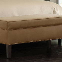 None - Made-to-Order Burling Khaki Storage Bench - Add a contemporary look to your living room or bedroom with this modern storage bench. The bench features a roomy compartment that will hold your linens,books,magazines,or whatever you need to store. The padded top will provide comfortable seating.
