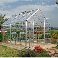 Poly-Tex, Inc. - Palram Snap and Grow 8' x 16' Hobby Greenhouse - Silver - The Snap and Grow 8' x 16' silver frame hobby greenhouse features the SmartLock connector system. Heavy duty aluminum frames assemble easily without a lot of hardware. Crystal-clear SnapGlas panels slide right into the frame, lock into place and are virtually unbreakable. The 8' wide greenhouse offers double hinged doors. You can later expand your Snap and Grow in 4' increments to build the hobby greenhouse to suit your individual needs. Aluminum framework, clear single layer polycarbonate panels, swinging front doors, rain gutter and three roof vents are standard features of the Snap and Grow. Has an easy to use set up manual. Available in standard silver or a more natural green powder coat. Make any backyard a sanctuary-in a snap!