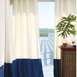 Outdoor Banded Drape - Do you have an outdoor space? Consider hanging these from a patio cover for an instant spring flair. They not only add drama, but help for blocking the sun as well. I love the nautical combination of blue and white.