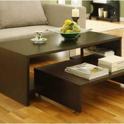 Hokku Designs - Paige Coffee Table - Infuse your home decor with the versatile and space saving Paige Extendable Coffee Table. Unique table features a 2-in-1 table design with a smaller table that can be extended to offer for table space. Features: -Constructed with MDF and strength enhancing wood veneers.-Smaller table can glide out when more table space is needed.-Smaller table is equipped with wheels for easy mobility.-Side shelves for storage.-2-in-1 table design construction.-Rich Matte Coffee Bean finish.-Distressed: No.Dimensions: -Smaller dimensions: 6'' H x 32'' W x 24'' D.-Overall Product Weight: 38 lbs.