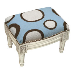 123 Creations - Circles Wool Needlepoint Wooden Footstool. Antique white wash. - This hand-crafted footstool is upholstered with hand-needlepoint. An unique and  beautiful accent furniture piece. Solid wood frame is hand-carved with hand-applied brass nail heads.