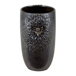 "Benzara - Beautiful Floral Design Open Neck Ceramic Vase in Gunmetal (Small) - Trendy and elegant, the Beautiful Floral Design Open Neck Ceramic Vase in Gunmetal (Small) is a must have for accentuating your interior home decor. This stylish vase comes in a lovely gunmetal shade and has a lovely open neck design with a slightly tapering base. The body of the vase also features a lovely intricate floral engraving. The dimensions of the Beautiful Floral Design Open Neck Ceramic Vase in Gunmetal (Small) are 11""x16""H. . Ceramic; Gunmetal; 11""x16""H; Dimensions: 0""L x 11""W x 16""H"