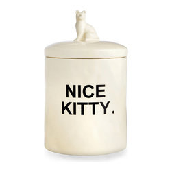 Fred Cat Treat Jar - The charming simplicity of the Fred Cat Treat Jar unifies the base and lid of this white ceramic canister, crafted with low-key details and a bold legend across the cylindrical jar's walls. Make life easy for guests and house sitters in homes with demanding felines while adding a high-contrast, sleek accent to your kitchen or other space with the sculpted cat knob.