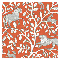 Red Modern Animal Motif Fabric - Sketched African animal & vine motif in modern rust red. Be wild & wonderful!Recover your chair. Upholster a wall. Create a framed piece of art. Sew your own home accent. Whatever your decorating project, Loom's gorgeous, designer fabrics by the yard are up to the challenge!