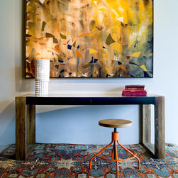 Salvador Desk, Sputnik Stool, West One Painting & Scott Daniel Lighting - Salvador Desk made from reclaimed Brazilian Peroba Rosa wood & Sputnik Stool in Orange Powdercoat, West One Painting, Scott Daniel Lighting