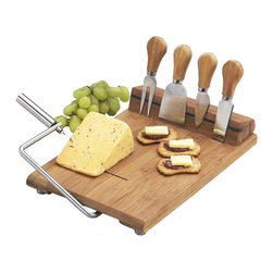 Picnic at Ascot - Silton Slicer Cheese Board Set - Includes stainless steel serving tools, two cheese knives , cheese spreader, cheese fork and extra wire for cutter. Wire cheese slicer. Magnetic tool strip. Strip neatly holds tools when not in use. Lifetime warranty. No assembly required. 11.5 in. L x 12.5 in. W x 2.25 in. H (3 lbs.)