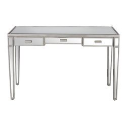 Worlds Away Vivien Silver leaf and Mirrored Desk - Mirrored 3 drawer desk with painted antique silver wood edging. All drawers on glides.