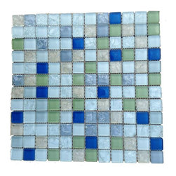 "GlassTileStore - Loft Nautilus Glass Tiles - Loft Nautilus Glass Tile             Add a happy bursts of color to any room with this beautiful glass tile. This colorful design and mixture of shattered glass effect will give your kitchen, bathroom or any decorated room a bright and fresh look.          Chip Size: 1x1   Color: Variety of Color - Shades of Green, Beige, Blue, Ice White (White w/ hint of Green)   Material: Glass   Finish: Textured, Polished    Sold by the Sheet - each sheet measures 12"" x 12"" (1 sq. ft.)   Thickness: 8mm            - Glass Tile -"
