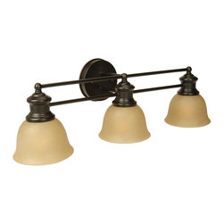 Craftmade - Lite-Rail Series, 3 Light in Oiled Bronze - Bulb Type: A-Type. Max Watt: 3x100W. Glass Finish: Tea-Stained. Length: 25.5 in.. Extension: 8.0 in.