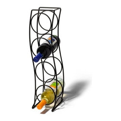 Spectrum Diversified Designs - 4 Bottle Curve Wine Rack, Black - Spectrums Curve 4-Bottle Wine Rack combines a stylish look with space-saving convenience. The clever design keeps wine bottles at the proper angle to help prevent corks from drying. Made of sturdy steel, this wine rack will add a modern touch to your home.