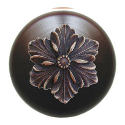"Inviting Home - Opulent Flower Walnut Wood Knob (antique solid bronze) - Opulent Flower Walnut Wood Knob with hand-cast antique solid bronze insert; 1-1/2"" diameter Product Specification: Made in the USA. Fine-art foundry hand-pours and hand finished hardware knobs and pulls using Old World methods. Lifetime guaranteed against flaws in craftsmanship. Exceptional clarity of details and depth of relief. All knobs and pulls are hand cast from solid fine pewter or solid bronze. The term antique refers to special methods of treating metal so there is contrast between relief and recessed areas. Knobs and Pulls are lacquered to protect the finish. Alternate finishes are available. Detailed Description: The Opulent Scroll pulls add an amazing focus to any drawers or cabinets - it will make them look regal and majestic. The absolute perfect place for these pulls to be used is in the dining room on your china closet. They are great pulls to use if you are trying to punch up an antique piece of furniture or cabinet. You should consider using the Opulent Scroll pulls in combination with the Opulent Flower knobs or wood knobs with flower."