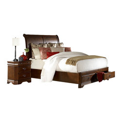 Homelegance - Homelegance Karla 5-Piece Platform Sleigh Bedroom Set in Brown Cherry - The Karla collection takes the refined features of classic lines and creates a modern update of traditional design. Clipped corners and routed pilasters blend the classic lines of the top and base moldings while the antiqued bronze finish hardware, featuring an elegant garland motif with drop ring pull, further accent each case piece. Book-matched veneer accents the headboard and footboard creating a focal point for the collection. Cherry and birch veneers are accentuated in a luxurious brown cherry finish that further exemplifies the traditional feel of this set. Also offering platform bed with footboard storages.
