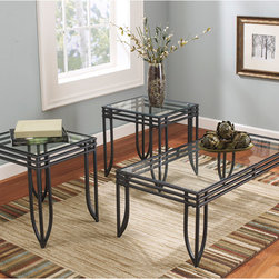 Signature by Ashley - Exeter 3 Piece Occasional Table Set - Contemporary Design. Inset Glass Table Top. Welded Tubular Apron Frame. Textured Black and Brown Metal Base. Plastic Floor Glides. 2 End Tables: 18 in. W x 20.5 in. D x 21.125 in. H. Cocktail Table: 44 in. W x 22 in. D x 16.125 in. H.