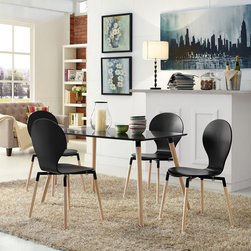 Path Dining Chairs and Table Set of 5 in Black (EEI-1371-BLK) - Find your center of balance in the circular path of life. Path's simple fluid lines subtly generate a powerful statement. Sit down, breathe deeply on the fiberboard frame and solid beech wood legs, and let the conversations and ideas begin to flow. Set Includes: Four - Path Dining Chairs One - Path Dining Table