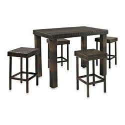 Crosley - Palm Harbor Collection 5-Piece Outdoor Wicker High Dining Set - Enjoy outdoor dining on your patio with our beautifully crafted, all-weather wicker high dining set.