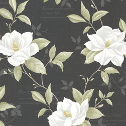 Brewster Home Fashions - Cressida Black Magnolia Trail Wallpaper Swatch - Although designed atop a rich ebony canvas this floral wall covering is as vibrant as ever bringing a lush magnolia trail to walls in fresh ivory and green hues.