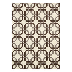 """Nourison - Artisanal Delight Contemporary Tobacco Geometric 2'6"""" x 4' Waverly Rug by RugLot - Artisanal Delight Collection by Waverly presents a mixture of classic and stylish floral patterns, combined with trendy, current graphic designs, to round out a savvy, fresh offering. Made of cut pile and accentuated with hand-carving, these designs come to life in rich color palettes that emphasize the Waverly brand while anchoring its position as a trend-setter in home furnishings"""