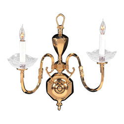 Joshua Marshal - Essex House Two Light Polished Brass Wall Light - Two Light Polished Brass Wall Light