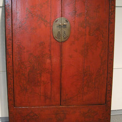 Red Lacquered Antique Chinese Cabinet - Red Lacquered Antique Chinese Cabinet