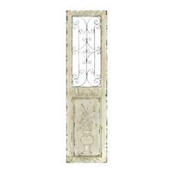 UMA - Standing Urn Wooden Wall Panel - This wood art depicts a vintage style door with scrolling at top and the image of a standing vase and spiky foliage at the base.