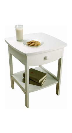 Winsomewood - Curved End Table/night Stand With One Drawer - Is your bedroom furniture a little rough around the edges? This elegant white nightstand has the curve appeal you've been looking for. The tabletop is large enough for a wide-based lamp and a pull-out drawer and bottom shelf keep your books and reading glasses within reach.