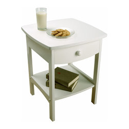 Winsomewood - Curved End Table / Night Stand with One Drawer - Is your bedroom furniture a little rough around the edges? This elegant white nightstand has the curve appeal you've been looking for. The tabletop is large enough for a wide-based lamp and a pull-out drawer and bottom shelf keep your books and reading glasses within reach.