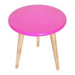 Used High Lacquer Stool - Pink - Perch yourself atop a pop! This fierce fuchsia stool features a high shine lacquer top and light wood legs. Would work great in a kids' space. Multiple available, please contact customer support with inquiries.