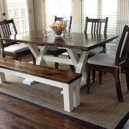 "6ft Trestle Dining Table - 6ft (72"") long by 37"" wide trestle all wood hand built dining table."