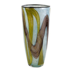 Corvus Large Glass Vase - Inspired by earth and sky, the large Corvus glass vase adds an artisan piece to any room!
