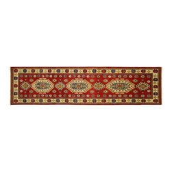 Manhattan Rugs - New Hand Knotted Super Kazak Wool Pure Red 3' X 10' Floral Design Area Rug H5814 - Kazak (Kazakh, Kasak, Gazakh, Qazax). The most used spelling today is Qazax but rug people use Kazak so I generally do as well.The areas known as Kazakstan, Chechenya and Shirvan respectively are situated north of  Iran and Afghanistan and to the east of the Caspian sea and are all new Soviet republics.   These rugs are woven by settled Armenians as well as nomadic Kurds, Georgians, Azerbaijanis and Lurs.  Many of the people of Turkoman origin fled to Pakistan when the Russians invaded Afghanistan and most of the rugs are woven close to Peshawar on the Afghan-Pakistan border.There are many design influences and consequently a large variety of motifs of various medallions, diamonds, latch-hooked zig-zags and other geometric shapes.  However, it is the wonderful colours used with rich reds, blues, yellows and greens which make them stand out from other rugs.  The ability of the Caucasian weaver to use dramatic colours and patterns is unequalled in the rug weaving world.  Very hard-wearing rugs as well as being very collectable