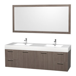 Wyndham Collection - 72 in. Double Bathroom Vanity Set - Includes two integrated rectangular sinks, acrylic-resin top, mirror, drain assemblies and P-traps for easy assembly. Faucets not included. Unique and striking contemporary design. Modern clean lines and a truly elegant design. Modern wall-mount design. Single-hole faucet mount. Two door and four deep doweled drawers. Beautiful wood grain exteriors offset by modern brushed chrome door pulls. Provides a full complement of storage areas behind sturdy soft-close doors and drawers. Fully-extending soft-close drawer slides. Concealed, soft close door hinges and drawer glides. Mirror glass thickness: 0.75 in.. Highly water-resistant low V.O.C. finish. Eight stage preparation, veneering and finishing process. Metal hardware with antique bronze finish. Warranty: Two years limited. Made from beautiful veneers over highest quality grade E1 MDF. Grey oak finish. Minimal assembly required. Mirror: 70 in. W x 33 in. H (48 lbs.). Vanity: 72 in. W x 21.75 in. D x 25 in. H (136 lbs.). Handling Instructions. Installation Instructions - Mirror. Installation Instructions - VanityAesthetic meet affordability in the Wyndham Collection Amare Vanity. you'll never hear a noisy door again! A wall-mounted vanity leaves space in your bathroom for you to relax. The simple clean lines of the Amare wall-mounted vanity family are no-fuss and all style.