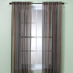 Richloom Home Fashions - Sicily Rod Pocket Panel - These colorful window treatments are a wonderful addition to any decor and add depth and interest to your windows. Strands of ombre stripes in earthy shades of blue, brown, gold, gray, copper, and ivory are printed on a sheer fabric.