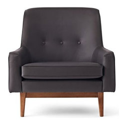 Happy Chic by Jonathan Adler Bleecker Leather Accent Chair - It almost feels as though this Jonathan Adler chair is smiling at you with its broad back and narrow seat. The three buttons lining the middle of the leather are a handsome detail.