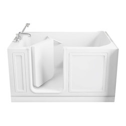 American Standard - 32 inch x 60 inch Walk-in Tub with Left Drain in White - American Standard 3260.210.SLW 32 inch x 60 inch Walk-in Tub with Left Drain in White. American Standard walk-in baths offer a patented low-entry walk-in door and built-in contoured seat with deep soaking dimensions for worry-free, easy to access and luxurious bathing experiencesAmerican Standard 3260.210.SLW 32 inch x 60 inch Walk-in Tub with Left Drain in White, Features:Built-in chair height seat