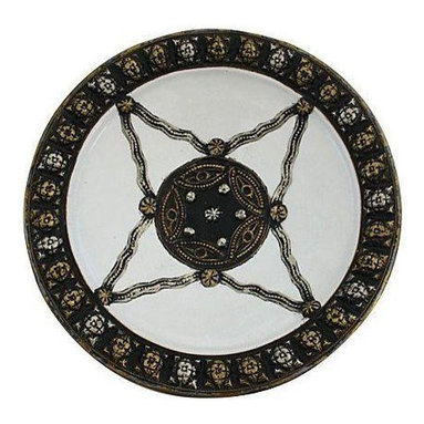 White Moroccan Plate with Berber Engravings - Dimensions 14.0ʺW × 14.0ʺD × 3.0ʺH