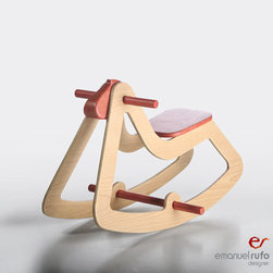 Wooden Rocking Horse C03 by Emanuel Rufo - I love this fun modern take on the rocking horse. It's OK to have a piece that almost completely swings to the modern side in a rustic theme just to shake things up a bit.