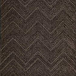 Nourison - Modelo Contemporary Brown Chevron 8' x 11' Joseph Abboud Rug By RugLots - These rugs are multi-dimensional and reflective of mixed media creations. Cut and loop piles in varying heights are combined to create engaging modern designs. Hand tufted with wool and synthetic fiber. Perfect for a variety of interiors and certain to be a conversation starter.