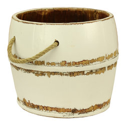 Antique Revival - White Navarro Garden Bucket - This vintage, wooden kitchen bucket adds a fun, country touch to your existing decor. The lightly distressed, white paint brings in a clean feel, and the rope handle and iron banding add an old-fashioned vibe. This bucket works great both indoors and outdoors.