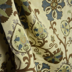 Kauf - Almazar Teal Brown Green Blue Cream Suzani Floral Upholstery Fabric By The Yard - Brown, green and blue Suzani flowers scroll across a cream colored background to make up Almazar Teal.  This upholstery fabric can be used for bedding and pillows.