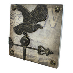 Zeckos - Square Metal Wall Plaque with Eagle Weathervane - This decorative metal wall plaque adds a unique accent to your home decor. It measures 14 inches tall, 14 inches wide, 1 1/4 inches thick, and features an eagle weathervane in the center. It easily mounts to the wall with 2 nails or screws, and makes a great gift for friends and family.