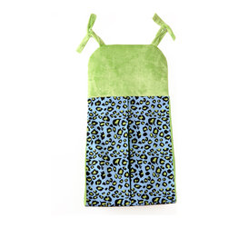 "Jazzie Jungle Boy - Diaper Stacker - Diaper stacker is a combination of ""Cheetah Blue"" cotton print fabric and our signature minky in green. Ties designed in green minky fabric.  Don't forget this necessity for your room!"
