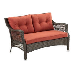 Ace Evert - Wicker Deep Seating Outdoor Loveseat with Cinnamon Cushion - Made using an all steel body with a brown finish for strength and a wicker design for elegant styling. Outdoor loveseat features wicker designed framing for unique styling that's perfect for outdoor use including patios, pool decks and more.