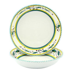 Artistica - Hand Made in Italy - ORVIETO: Round Flat Pasta/Soup Bowl - ORVIETO Collection: This is a very old and traditional pattern that originated during the Renaissance in the hill-top town of Orvieto - Italy.